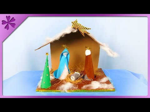 DIY How to make cardboard Christmas crib and figures (ENG Subtitles) - Speed up #428