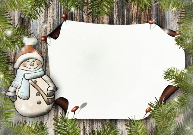 Vánoční obrázkové přání se sněhulákem zdarma