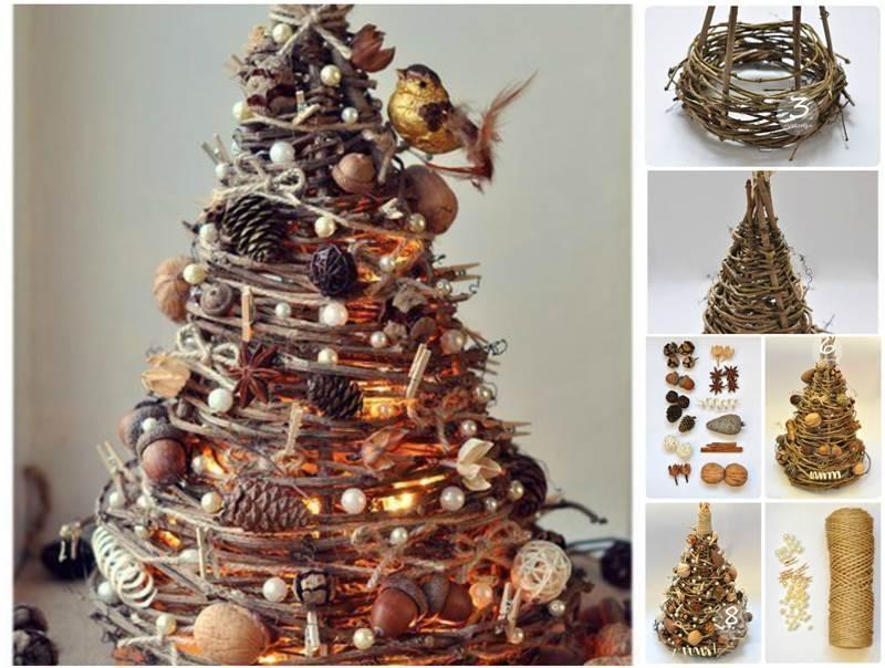 Přírodní vánoční dekorace z větviček a šišek