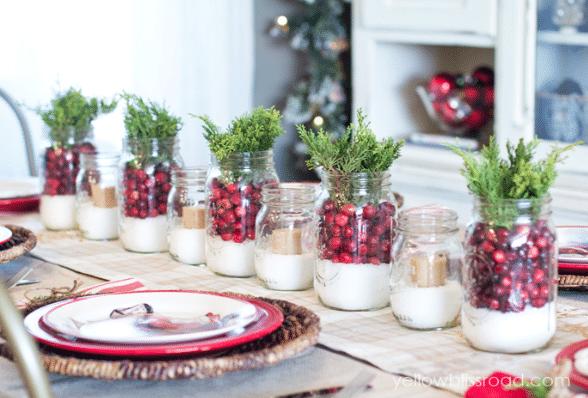 Vánoční dekorace ze zavařovacích sklenic