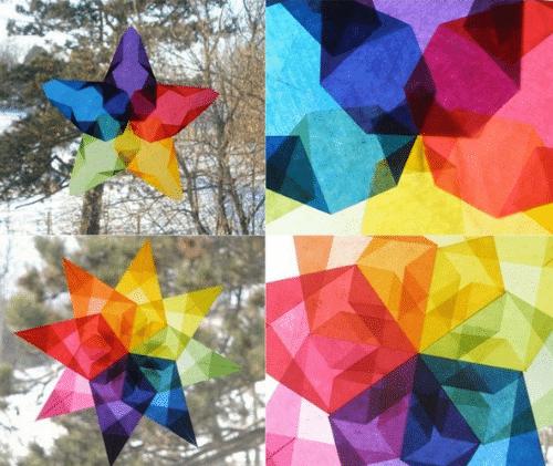 Papírová vitráž jako okenní dekorace