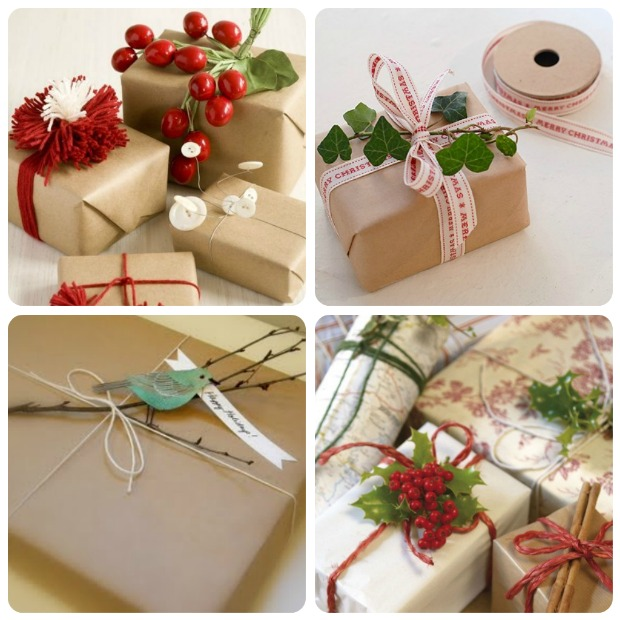 Inspirace zabalených dárků na Vánoce.