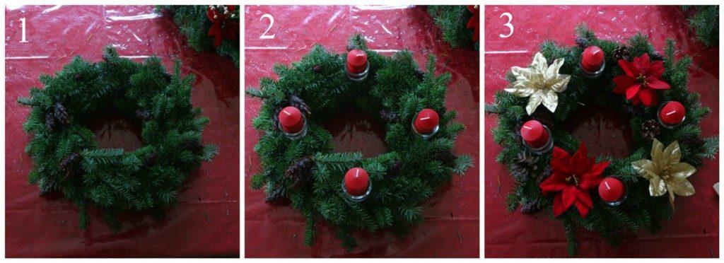 Návod jak ozdobit vánoční věnec na stůl.