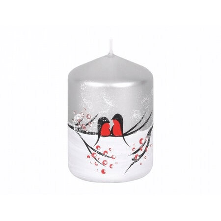 Vánoční dekorativní svíčka s ptáčky.