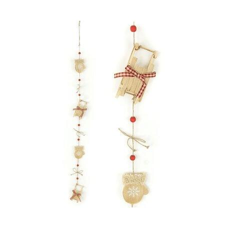 Vánoční dekorace - girlanda s dřevěnými sáněmi a mašličkami.