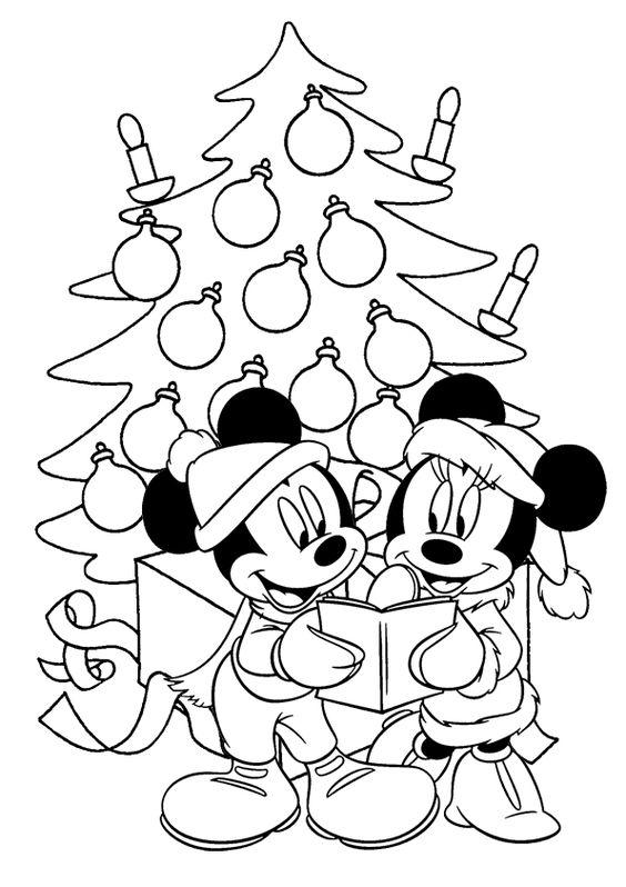 Mickey Mouse a Minnie Vánoce - omalovánka do dopisu od Ježíška