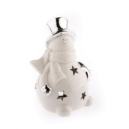 Vánoční keramický svícen ve tvaru sněhuláka bílý.