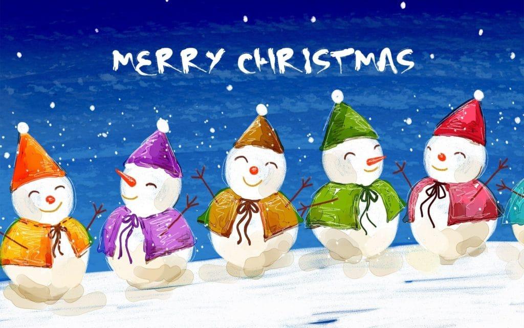 sněhuláci na vánočním obrázkovém přání s anglickým textem merry christmas