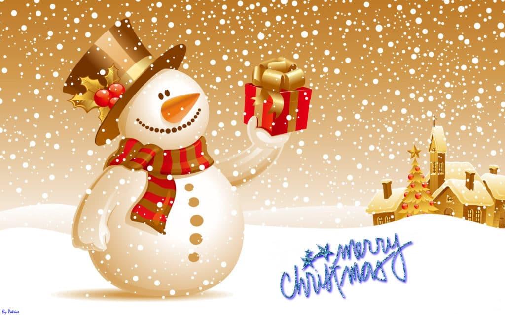 vánoční obrázek se sněhulákem