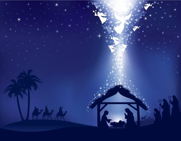 Vánoční přání s motivem narození Ježíška v Betlémě, za přítomnosti andělů, Marie, Josefa a tří králů.