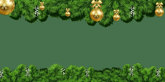 Vánoční obrázkové pozadí s bílým místem uprostřed, horizontálně lemované větvičkami se zlatými baňkami.