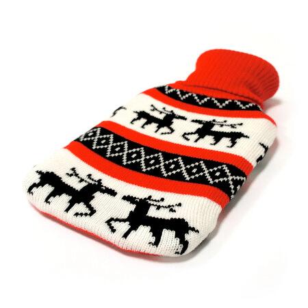Vánoční izolační obal na termolahev pletený s motivem sobů.