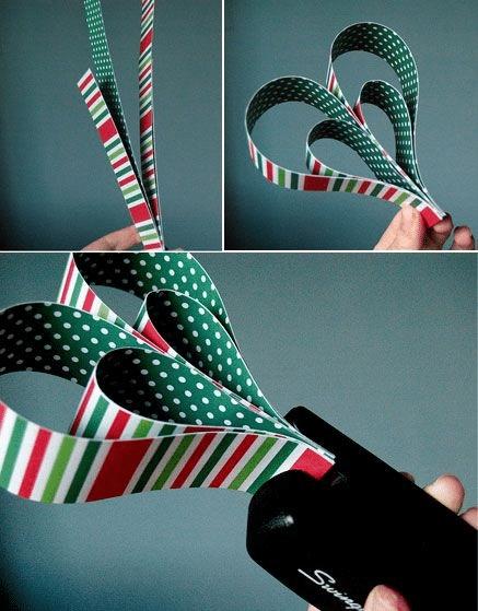 Papírové ozdoby na vánoční stromeček - postup.