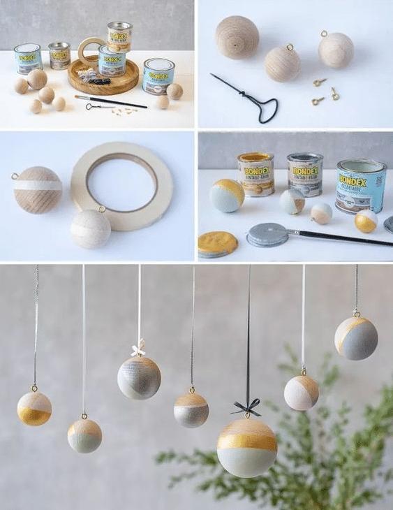 Návod jak si vyrobit decentní vánoční baňky z dřevěných kuliček ve skandinávském čistém stylu.