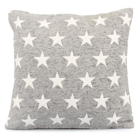 Vánoční povlak na polštář šedý s hvězdami.