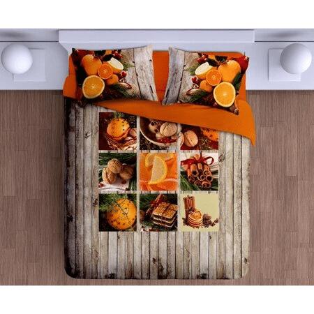 Vánoční povlečení s 3D motivem pomerančových dekorací