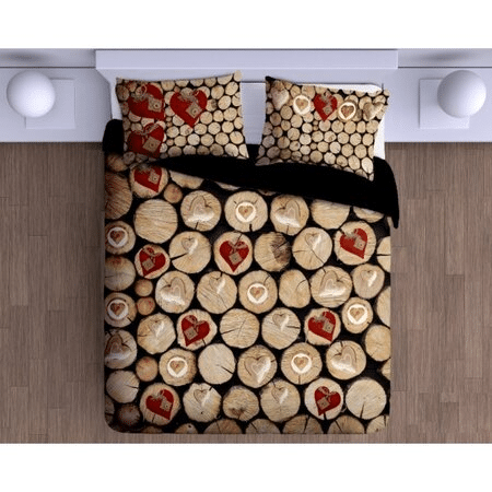Bavlněné vánoční ložní prádlo v dřevěném vzhledu.