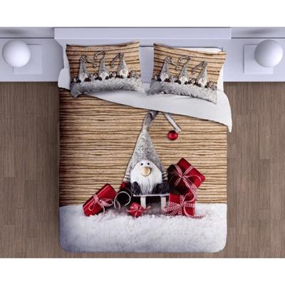 Vánoční bavlněné povlečení s vánočním skřítkem a dárky.