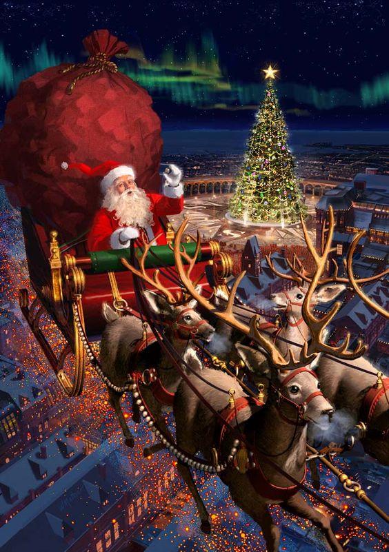Santa Claus se sobím spřežením a sáněmi.