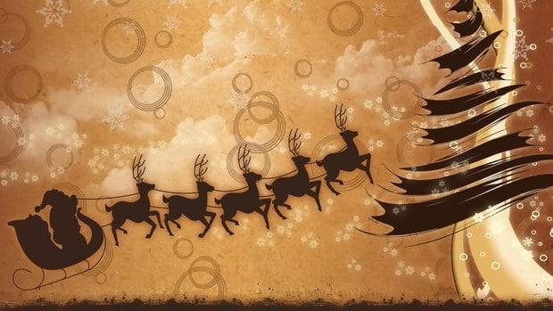 Pozadí hnědé barvy s obrázkem Santa Clause v saních, tažených pěti soby.