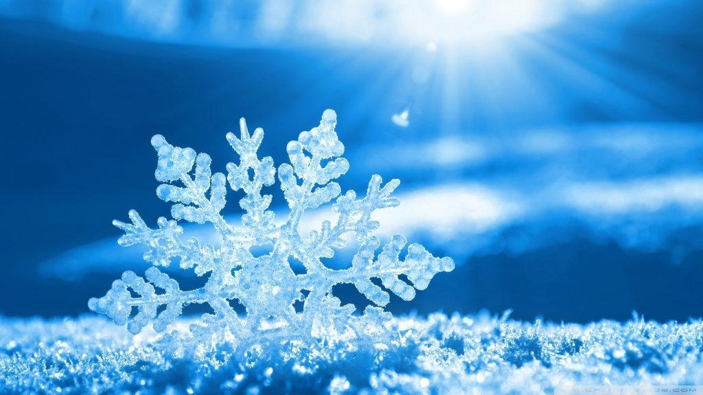 Vánoční obrázkové přání s krásně tvarovanou velkou vločku zabodnutou do sněhu.