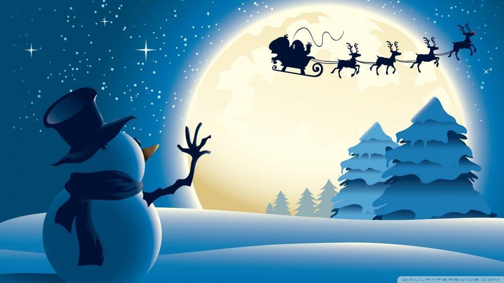 Modré pozadí se sněhulákem, mávajícím na měsíc, přes který letí saně Santa Clause, tažené čtyřmi soby.