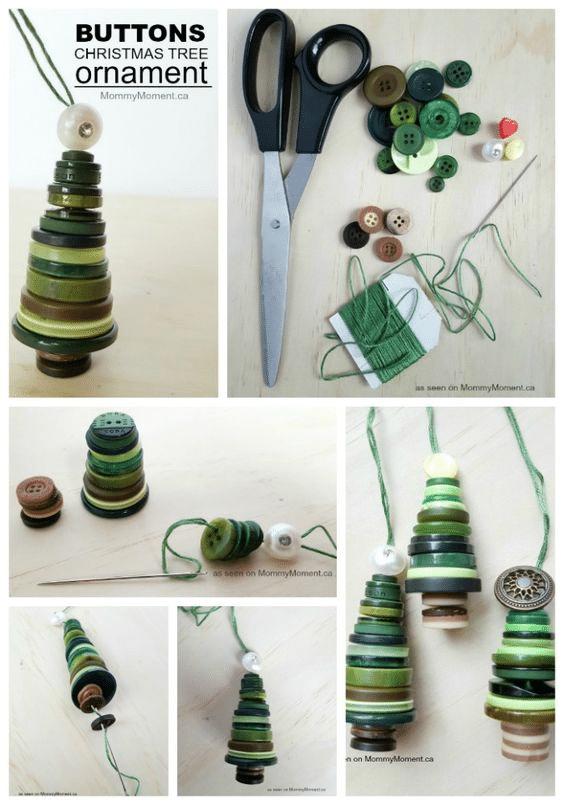 Návod jak si vyrobit ozdoby na vánoční stromeček ne tvaru stromku z knoflíků.