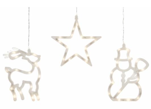 Závěsná LED dekorace ve tvaru soba, hvězdy a sněhuláka.