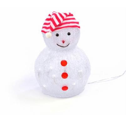 Svítící dekorativní sněhulák s čepičkou.