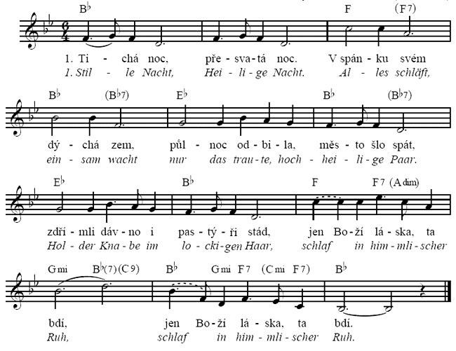 Vánoční koleda Tichá noc text s akordy a notami.