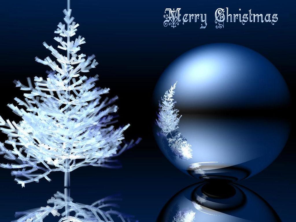 Modré vánoční obrázkové přání s bílým jehličnatým stromečkem, velkou koulí a s nápisem Merry Christmas.