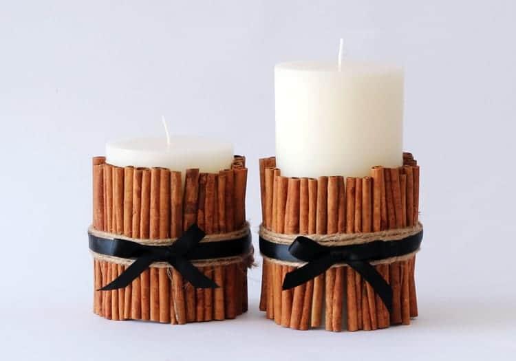 Vanilkové svíčky se skořicí jako ozdobný svícen