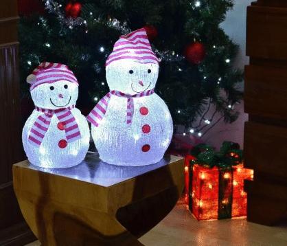 Vánoční dekorace svítící sněhulák.