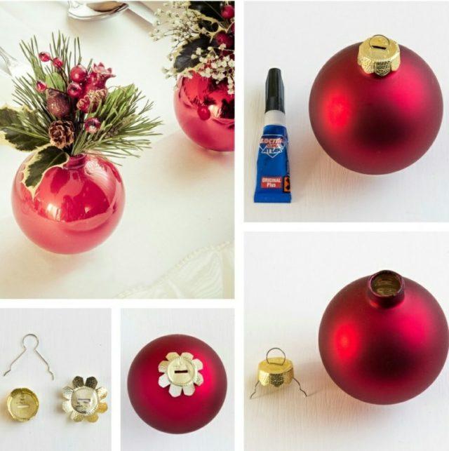 Vánoční koule plněné vodou jako dekorace