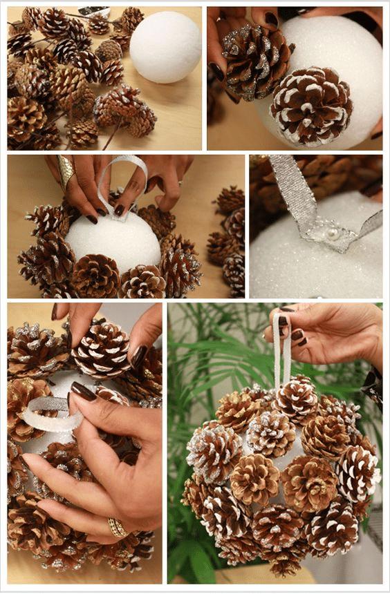 Jak si vyrobit vánoční kouli ze šišek.