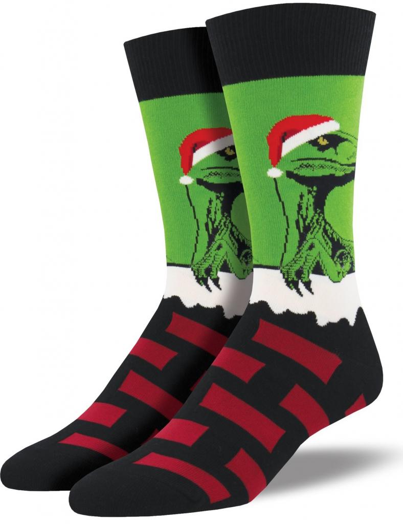 Pánské vánoční ponožky s dinosaurem ala Santa Claus.