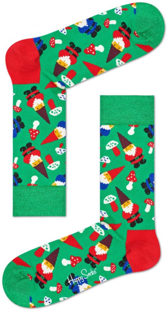 Vtipné vánoční ponožky s trpaslíky a houbami.