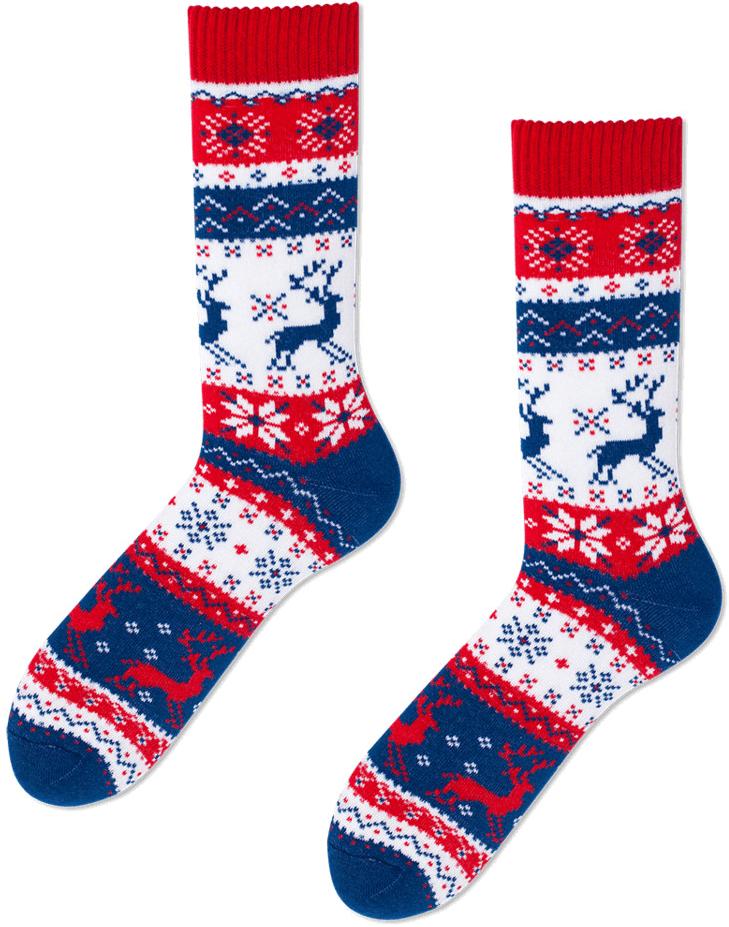 Teplé vánoční ponožky s norským vzorem.