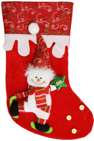 Dětská vánoční punčocha na dárky se sněhulákem.