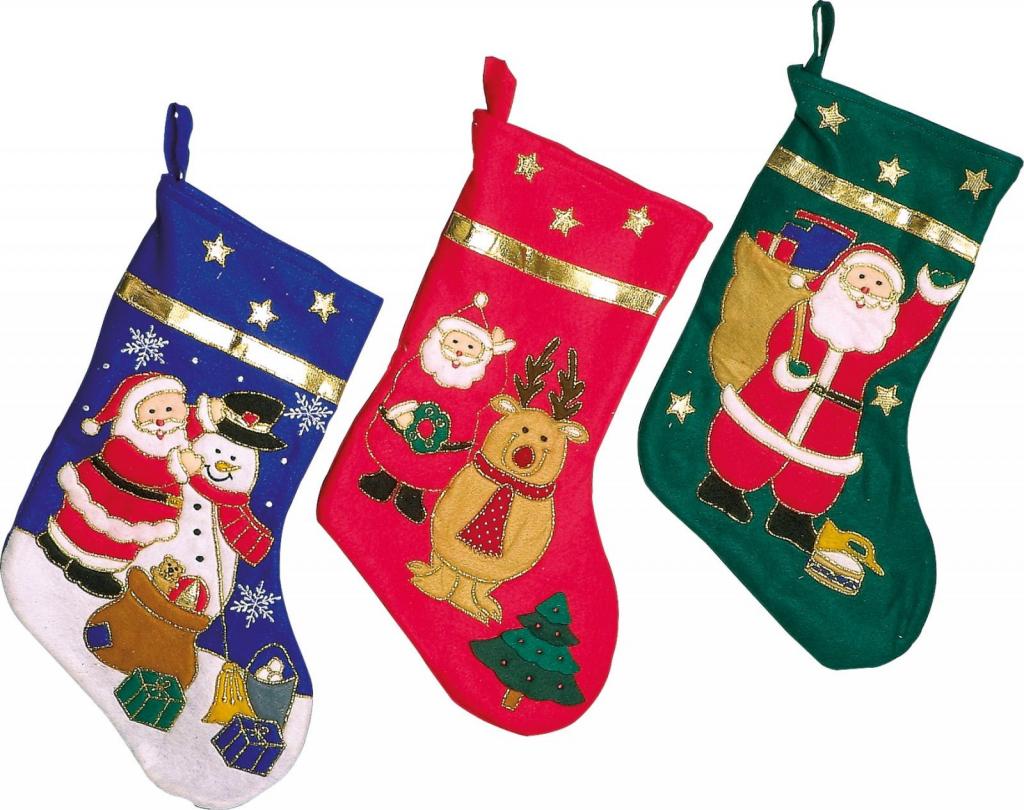Sada tří vánočních punčoch na krb se sněhulákem a Santa Clausem.