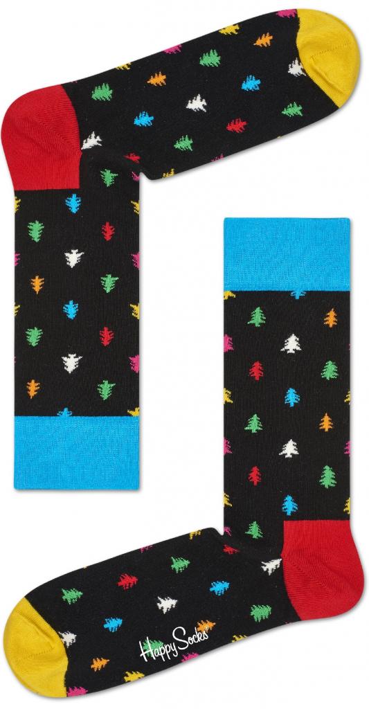 Dámské barevné ponožky s vánočními stromečky.