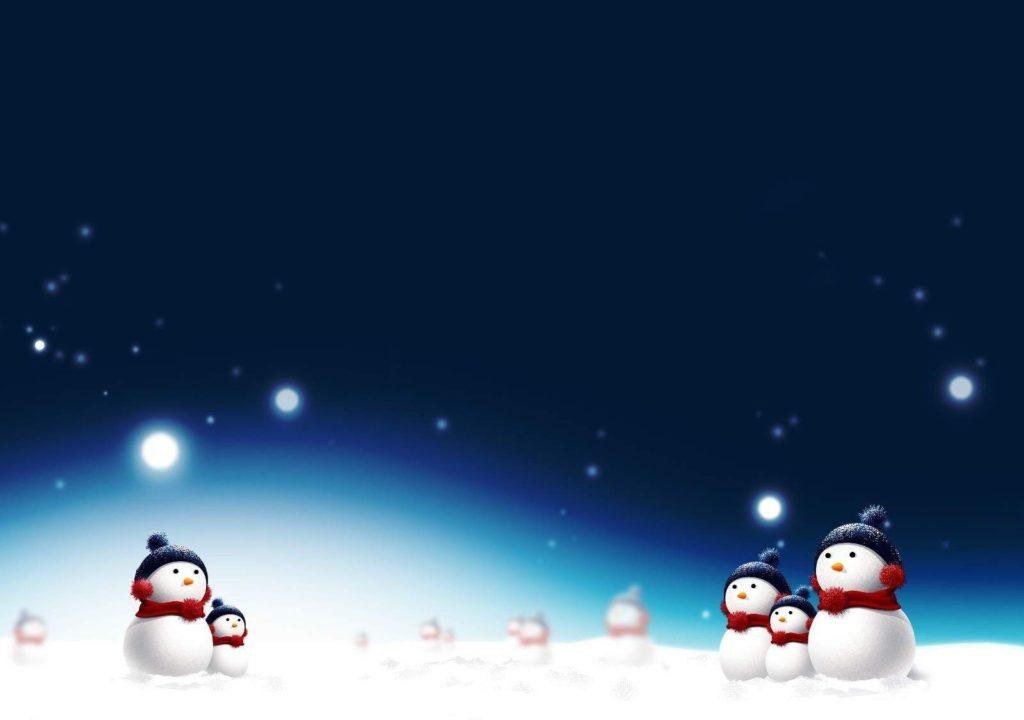 Kreslené obrázkové vánoční přání s noční oblohou a malými sněhuláčky po stranách.