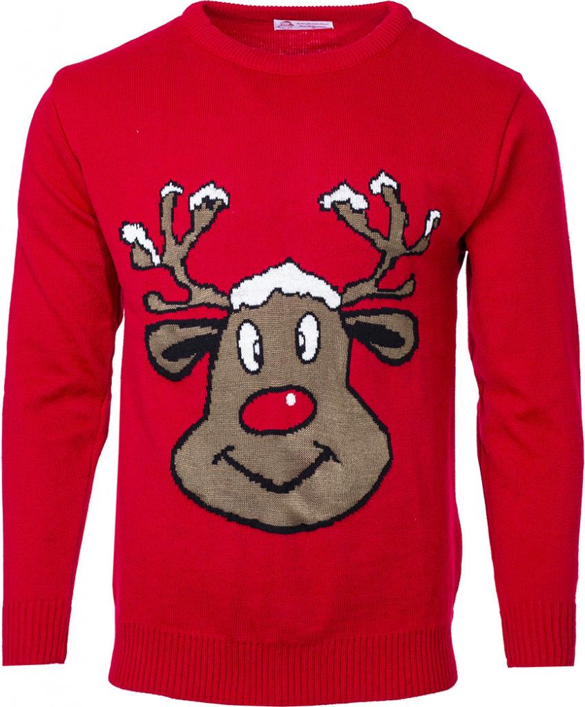 Červený vánoční svetr se sobem.