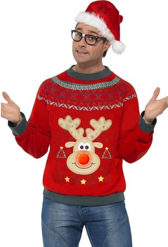 Vtipný vánoční svetr se svítícím sobem.