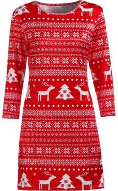 Vánoční úpletové šaty s norským vzorem.