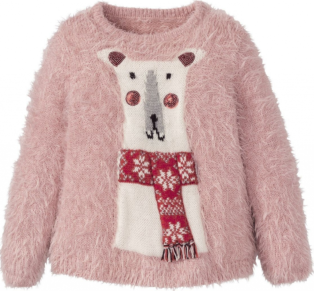 Dívčí zimní svetr chlupatý s medvídkem.