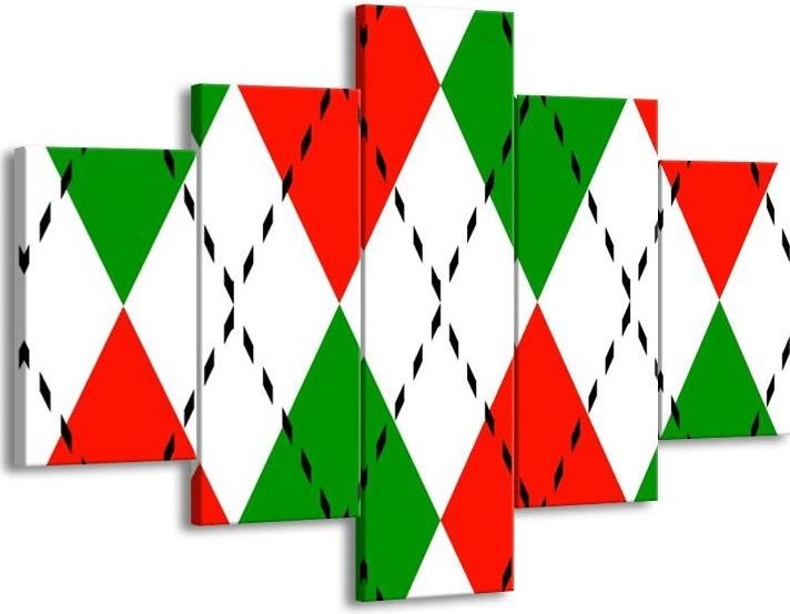 Bílo-červeno-zelený vánoční obraz ala svetr.