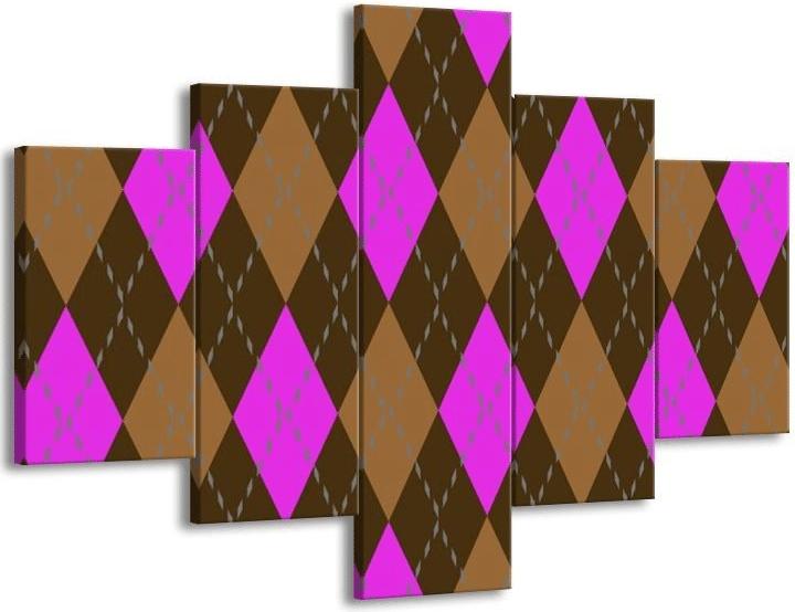 Nástěnný vícedílný obraz se svetrovým vzorem.