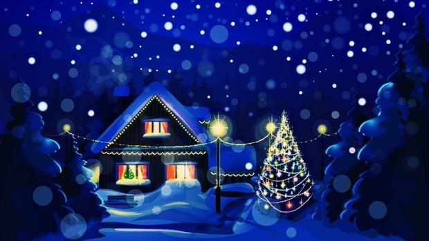 Kreslená pohlednice zobrazující zasněženou noční krajinu se svítícím domem a venkovním vánočním stromem.