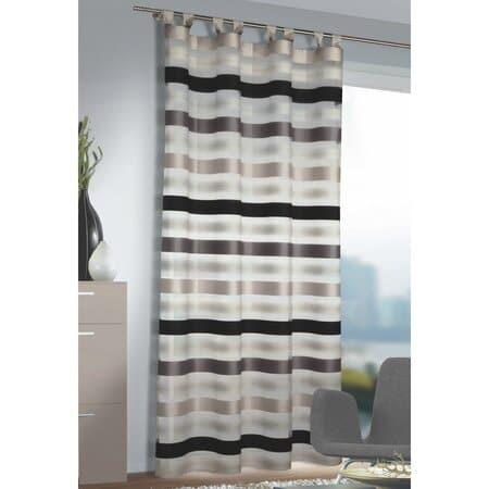 Pruhovaná záclona s poutky.